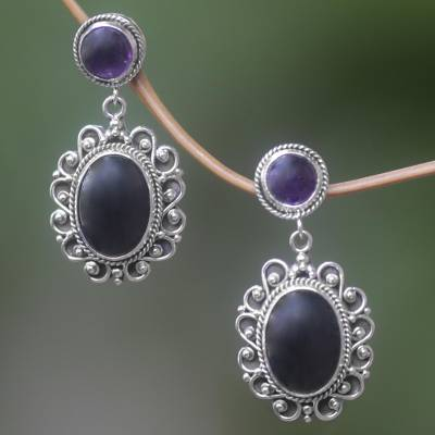 Amethyst and onyx earrings, 'Equilibrium' - Amethyst and onyx earrings