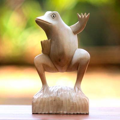 Wood sculpture, 'Dancing Frog' - Whimsical Artisan Carved Balinese Dancing Frog