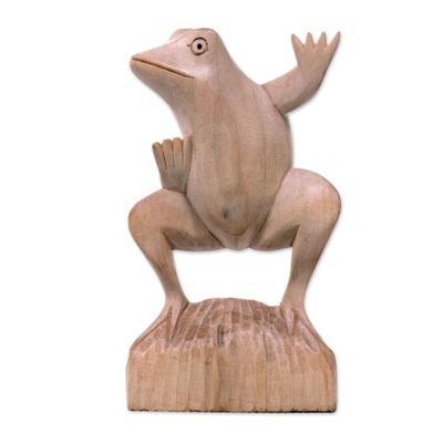 Wood sculpture, 'Dancing Frog' - Whimsical Artisan Carved Balinese Dancing Frog