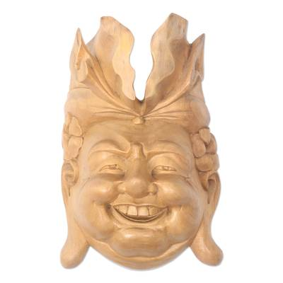 Wood mask, 'Joyous' - Hand Carved Acacia Wood Mask from Bali