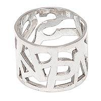 Sterling silver band ring, 'Blissful Happiness' - Hand Crafted Sterling Silver Ring with Happiness Letters