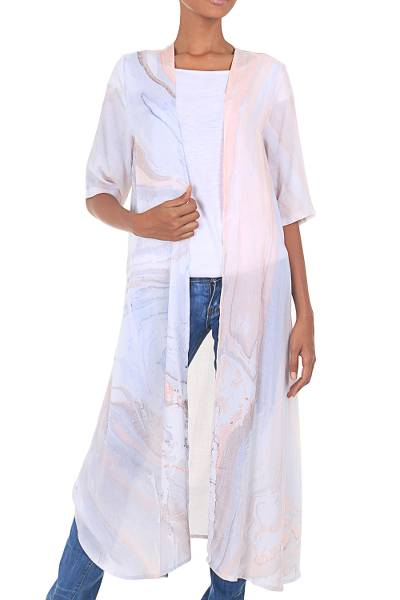 Hand-Dyed Open Front Kimono Jacket in Grey and Peach