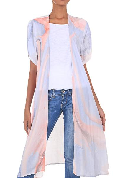 Grey and Peach Open Front Hand-Dyed Rayon Kimono Jacket