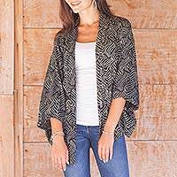 Rayon batik jacket, 'Bedeg' - Black and Ecru Rayon Batik Women's Open Front Jacket