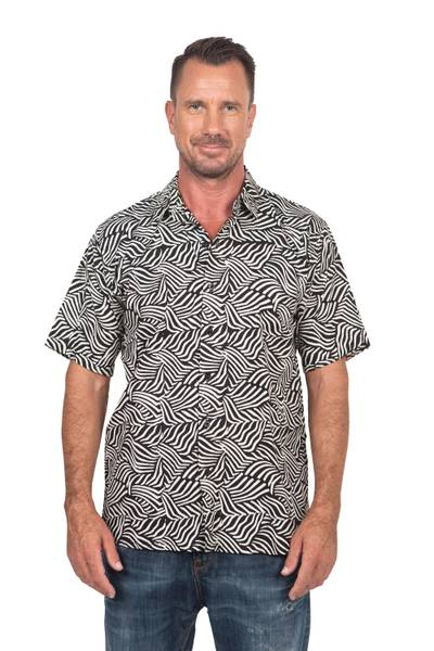 Men's cotton batik shirt, 'Bedeg' - Men's Cotton Batik Button Down Short Sleeve Shirt
