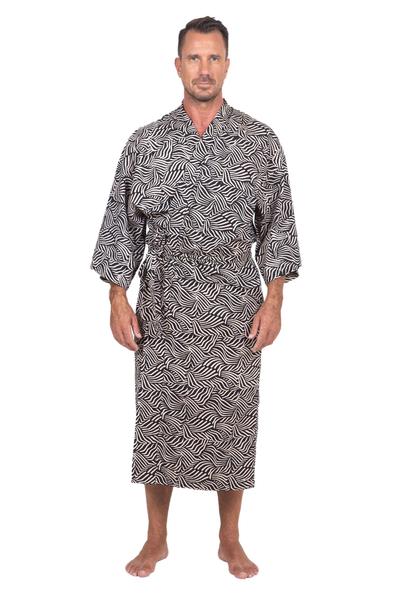 Men's cotton batik robe, 'Bedeg' - Men's Cotton Batik Robe Cream on Black One Size Fits Most