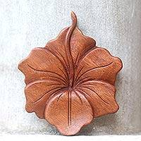 Wood relief panel, 'Single Hibiscus'