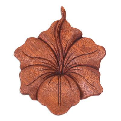 Wood relief panel, 'Single Hibiscus' - Balinese Hand Carved Hibiscus Flower Wood Relief Panel