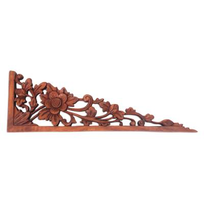 Wood relief panel, 'Lotus Tendrils' - Balinese Hand Carved Lotus Blossom Wood Relief Panel