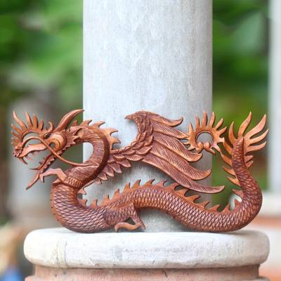 Winged Dragon Wall Panel Hand Carved from Wood, 'Sky Dragon'