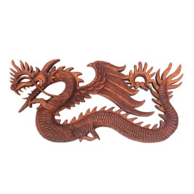 Wood relief panel, 'Sky Dragon' - Winged Dragon Wall Panel Hand Carved from Wood