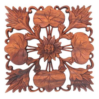 Wood wall panel, 'Lotus Garden' - Artisan Crafted Suar Wood Wall Panel with Floral Motif