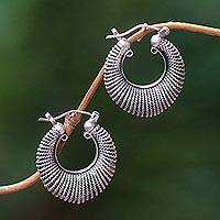 Sterling silver hoop earrings, 'Spiral Crescent' - Textured Handcrafted Hoop Earrings in Sterling Silver