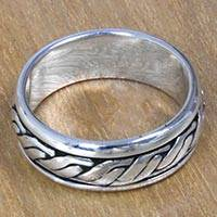 Men's sterling silver band ring, 'Lightning Track'