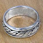 Textured Silver Handcrafted Men's Band Ring from Bali, 'Lightning Track'
