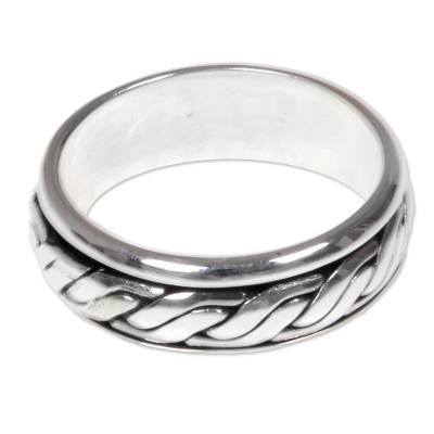 Men's sterling silver band ring, 'Lightning Track' - Textured Silver Handcrafted Men's Band Ring from Bali