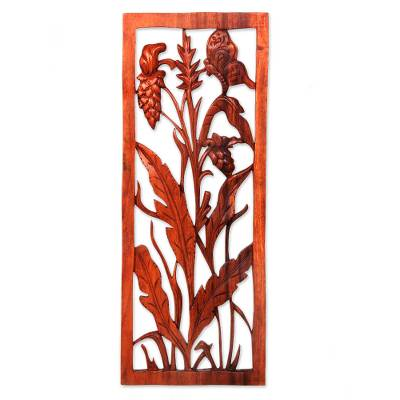 Wood relief panel, 'Balinese Sorghum' - Hand Carved Balinese Suar Wood Relief Panel