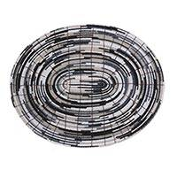 Glass bead placemats, 'Monochromatic' (set of 6) - Oval Artisan Crafted Glass Bead Placemats (Set of 6)