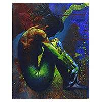 'Silent is Golden' - Multicolor Oil Painting of a Nude Woman in Shadows