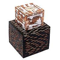 Wood decorative boxes, 'Lombok Duo' (pair) - 2 Artisan Crafted Decorative Wood Box Pair from Bali