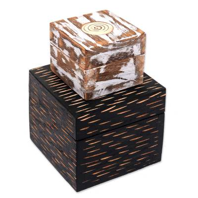 2 Artisan Crafted Decorative Wood Box Pair from Bali