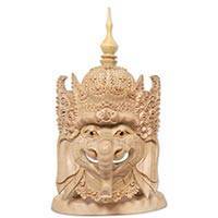 Wood mask, 'Ganesha's Floral Crown' - Artisan Hand Carved Wood Ganesha Mask from Bali