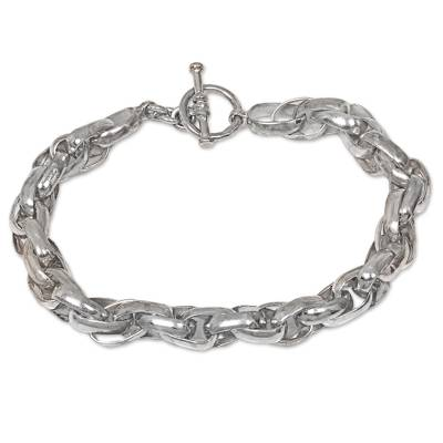 Men's sterling silver chain bracelet, 'Overdrive' - Hand Crafted Men's Sterling Silver Chain Bracelet from Bali