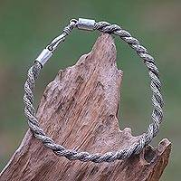 Sterling silver braided bracelet, 'Dragon Twist' - Handcrafted Balinese Spiral Twist Braided Silver Bracelet