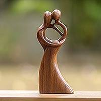Wood sculpture, 'Romantic Dance'