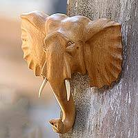Wood mask, 'Elephant Presence' - Hand Carved Balinese Wood Elephant Wall Mask from Bali