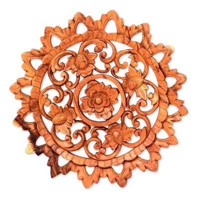 Wood relief panel, 'Lotus Blossom Circle' - Artisan Hand Carved Floral Wood Relief Panel from Bali