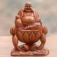 Wood sculpture, 'Buddha of Happiness' - Laughing Buddha Signed Balinese Wood Sculpture from Bali
