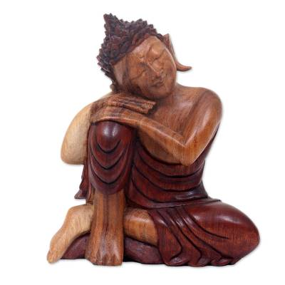 Balinese Peaceful Buddha Sculpture Carved by Hand