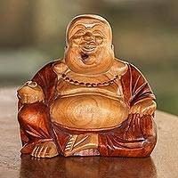 Wood sculpture, 'Buddha Laughs' - Acacia Wood Joyful Buddha Sculpture Carved by Hand in Bali