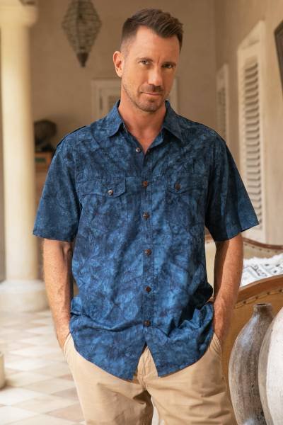 Men's cotton shirt, 'Military Blue' - Mens Safari Style 100% Cotton Short Sleeve Cotton Shirt with