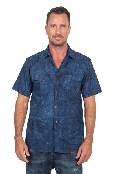 Men's cotton shirt, 'Military Blue' - Men's Military Style Blue Cotton Shirt with Short Sleeves