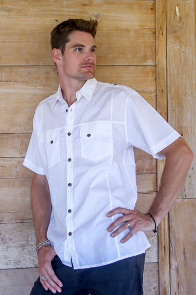 Men's cotton shirt, 'Military White' - Mens Safari Style 100% White Cotton Short Sleeve Cotton Shir
