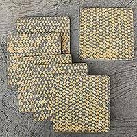 Wood and bamboo coasters, 'Bamboo Weave in Grey' (set of 6) - Hand Crafted Bamboo Fiber and Plywood Coasters (Set of 6)