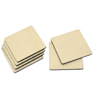 Artisan Crafted Plywood and Bamboo Fiber Coasters (Set of 6)