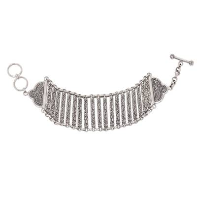 Sterling silver wristband bracelet, 'Bridge to Beauty' - Indonesian Sterling Silver Artisan Crafted Bracelet