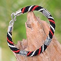 Silver accent cotton braided bracelet, 'Black Tridatu' - Silver Accent Braided Cotton Bracelet Handcrafted in Bali