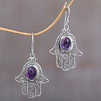 Amethyst dangle earrings, 'Purple Hamsas' - Amethyst Hamsa Hand Dangle Earrings from Indonesia