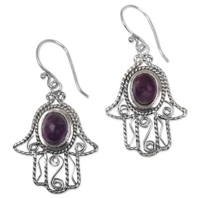 Amethyst dangle earrings, 'Purple Hamsas' - Amethyst Hamsa Hand Dangle Earrings from Indonesia