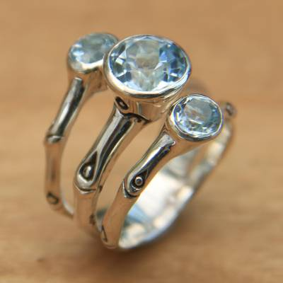 Blue topaz cocktail ring, Dewdrop Bamboo