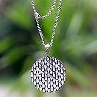 Sterling silver pendant necklace, 'Abundant Rice' - Modern Balinese Geometric Theme Silver Necklace