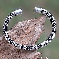 Sterling silver cuff bracelet, 'Woven Circlet'