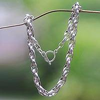 Sterling silver chain link necklace, 'Bold Links'