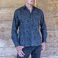 Men's cotton shirt, 'Hypnotic' - Hand Stamped Men's All Cotton Shirt in Blue and Grey