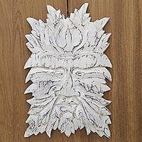 Wood wall panel, 'White Beard' - Hand Carved White Wood Wall Panel Leaf Motif from Indonesia