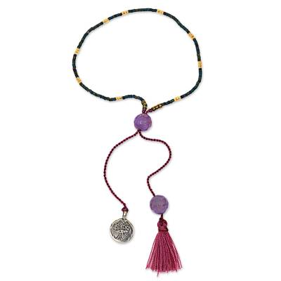 Hand Made Amethyst Beaded Bracelet Tree from Indonesia